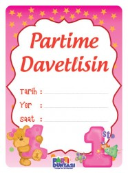 Parti Dünyası - 1 Yaş Kız 6 lı Türkçe Davetiye