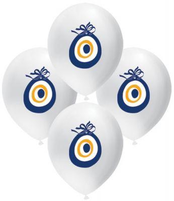 Parti Dünyası - Beyaz Nazar Boncuğu 10 lu Latex Balon