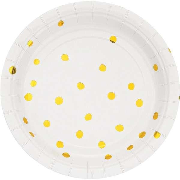 Beyaz Üzeri Altın Yaldız Puanlı Küçük Tabak 8 Adet