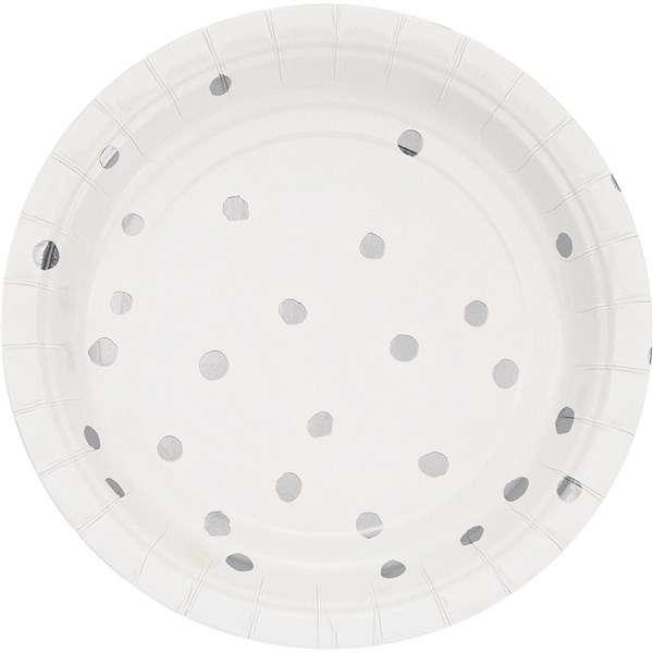 Beyaz Üzeri Gümüş Yaldız Puanlı Küçük Tabak 8 Adet