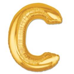 - C Harfi Altın Renk Folyo Balon