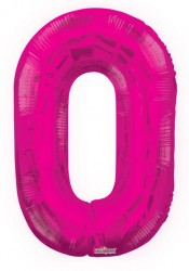 - Folyo Balon 0 Rakamı Pembe