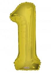 - Folyo Balon 1 Rakamı Gold//Altın Renk