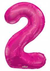 - Folyo Balon 2 Rakamı Pembe