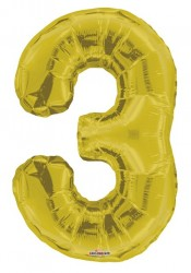 - Folyo Balon 3 Rakamı Gold//Altın Renk