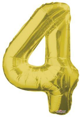 - Folyo Balon 4 Rakamı Altın Renk 40 cm