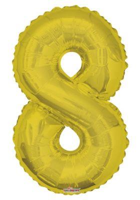 - Folyo Balon 8 Rakamı Altın Renk 40 cm