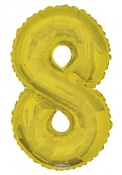 - Folyo Balon 8 Rakamı Gold//Altın Renk