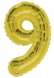 - Folyo Balon 9 Rakamı Gold//Altın Renk