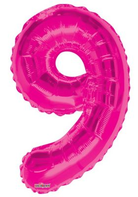 - Folyo Balon 9 Rakamı Pembe