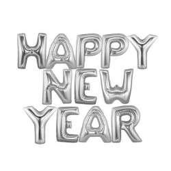 Happy New Year Gümüş Renk Harf Folyo Balon