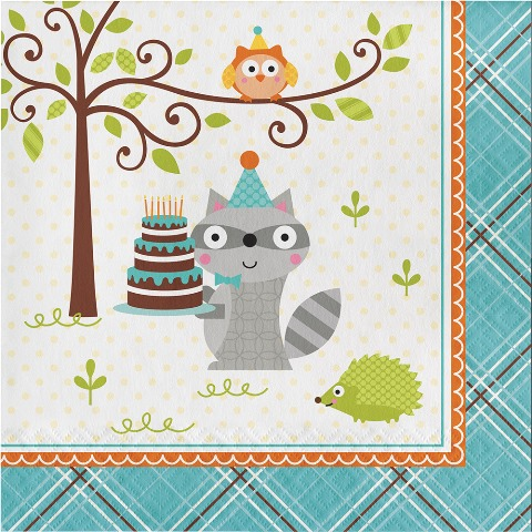 Happy Woodland Mavi Peçete 16 Adet