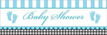 Baby Shower Bebek Ayakları Mavi Dev Afiş