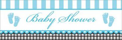- Baby Shower Bebek Ayakları Mavi Dev Afiş