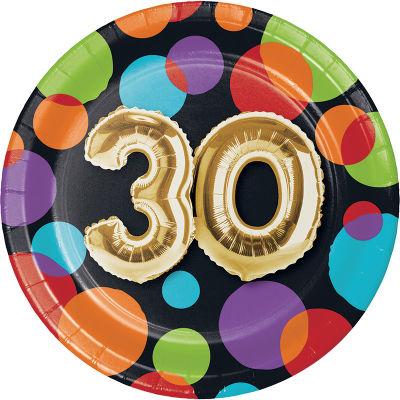 - Işıltılı Balonlar 30 YAŞ Küçük Tabak 8 Adet