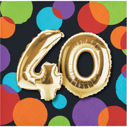 - Işıltılı Balonlar 40 YAŞ 16 lı Küçük Peçete
