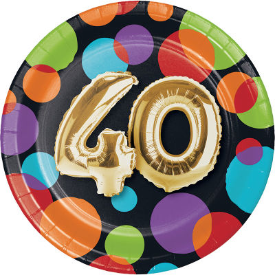 - Işıltılı Balonlar 40 YAŞ Küçük Tabak 8 Adet