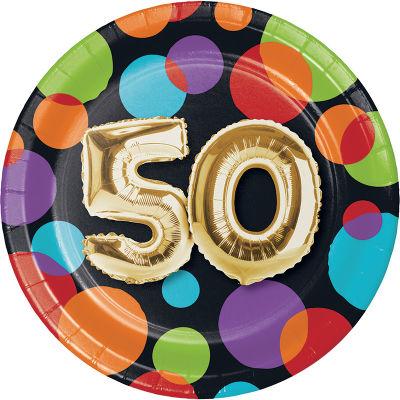 - Işıltılı Balonlar 50 YAŞ Küçük Tabak 8 Adet