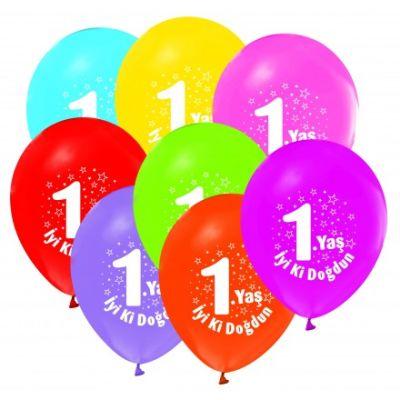 - İyi Ki Doğdun 1 Yaş Baskılı 10 Latex Balon