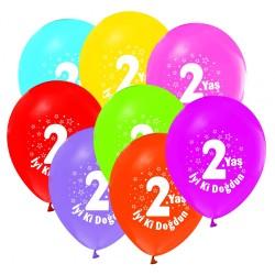 - İyi Ki Doğdun 2 Yaş Baskılı 100 Lü Latex Balon