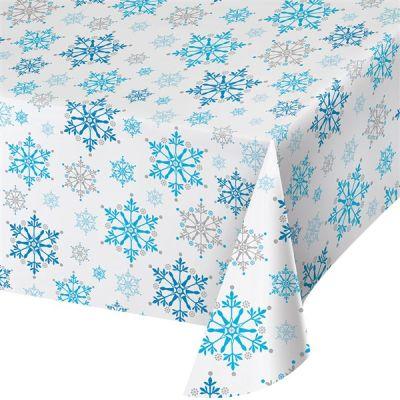 - Kar Taneleri Ful Baskılı Masa Örtüsü