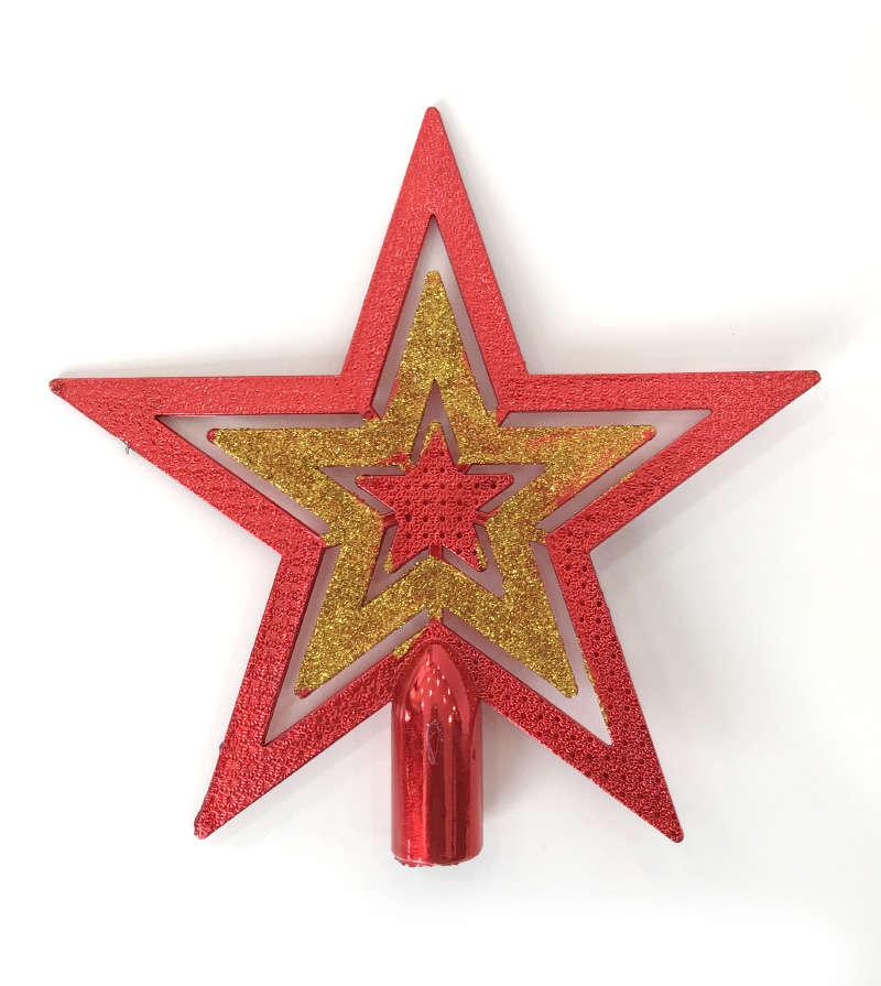 Kırmızı - Altın Yıldız Tepelik 20 cm