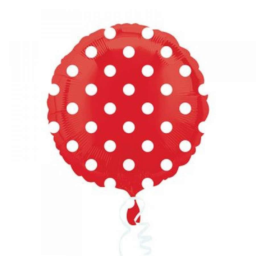 Kırmızı Beyaz Puanlı Folyo Balon