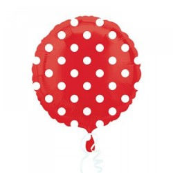 - Kırmızı Beyaz Puanlı Folyo Balon