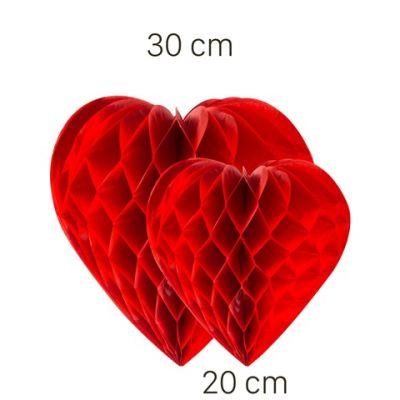 - Kırmızı Kalp Petek Süs Seti 2 Adet 30-20 cm