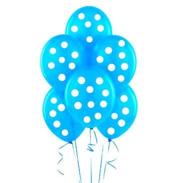 Mavi Beyaz Puanlı 10 lu Latex Balon