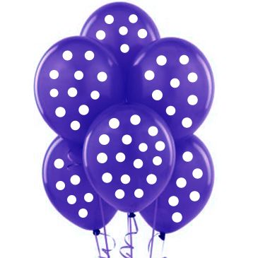 Parti Dünyası - Mor-Beyaz Puanlı 10 lu Latex Balon