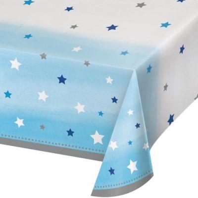 - One Little Star Mavi Masa Örtüsü