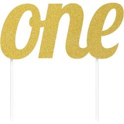 Parti Dünyası - ONE Simli Altın Renk Çubuklu Yazı