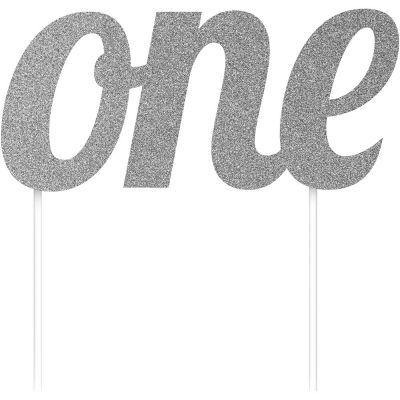 Parti Dünyası - ONE Simli Gümüş Renk Çubuklu Yazı
