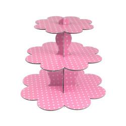 - Pembe Beyaz Puantiyeli Cupcake standı