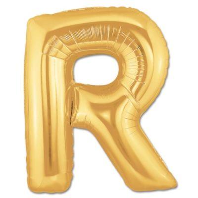- R Harfi Altın Renk Folyo Balon