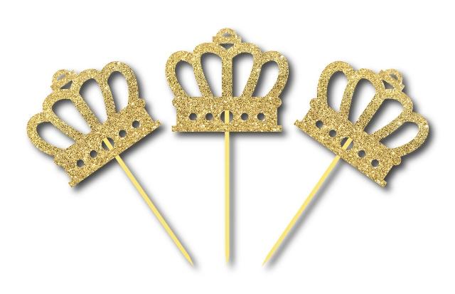 Simli Altın Renk Prens Tacı Kürdan 3 Adet