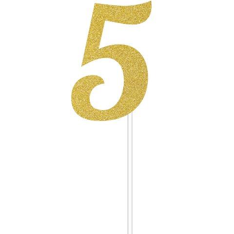 Simli Altın Renk 5 Rakamı