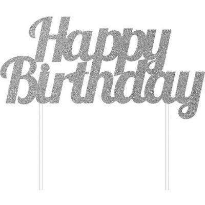 Parti Dünyası - Simli Gümüş Happy Birthday Çubuklu Yazı