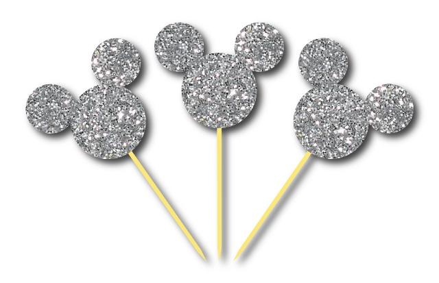 Simli Gümüş Mickey Kürdan 3 Adet