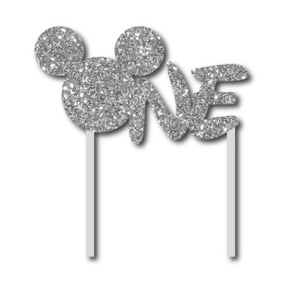Parti Dünyası - Simli Gümüş Mickey ONE Çubuklu Yazı