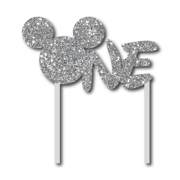 Simli Gümüş Mickey ONE Çubuklu Yazı