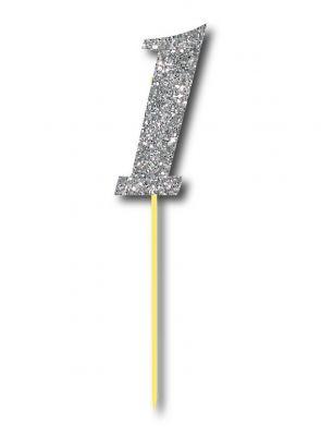 Parti Dünyası - Simli Gümüş Renk 1 Rakamı