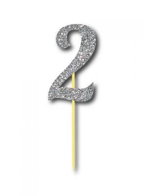 Parti Dünyası - Simli Gümüş Renk 2 Rakamı