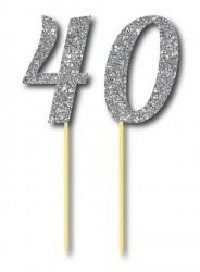 Parti Dünyası - Simli Gümüş Renk 40 Yaş