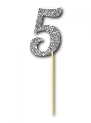 Parti Dünyası - Simli Gümüş Renk 5 Rakamı