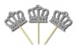 Parti Dünyası - Simli Gümüş Renk Prens Tacı Kürdan 3 Adet
