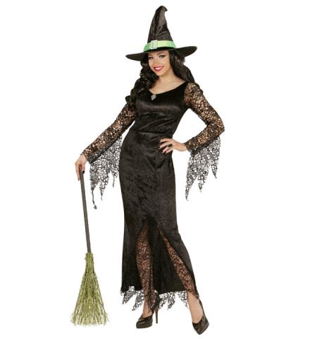 Siyah Cadı Yetişkin Kostümü Dantelli Lux