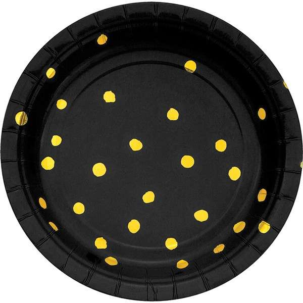 Siyah Üzeri Altın Yaldız Puanlı Küçük Tabak 8 Adet