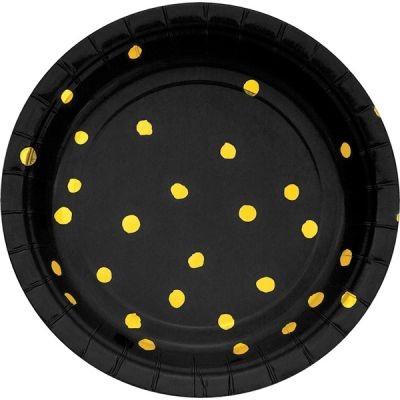 - Siyah Üzeri Altın Yaldız Puanlı Küçük Tabak 8 Adet